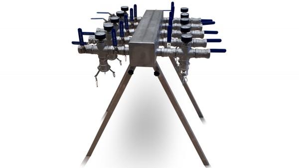 Verteiler mit 10 Anschlüssen mit Camlock Steckkupplungen