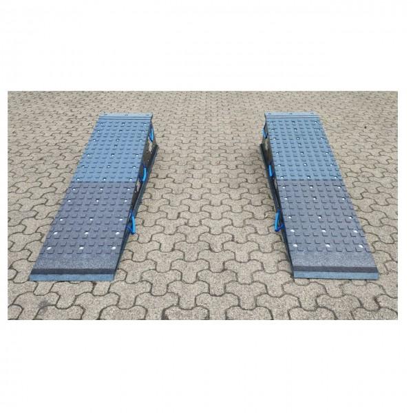 Schwerlastrampe Set, 1800 x 500 x 420 mm, 3 teilig, mit Griffen, Verzahnung und Kippschutz